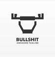 logo bull shit line art style vector image