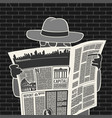 man in hat with newspaper spies vector image vector image