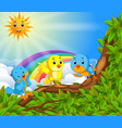 many bird on the tree branch with rainbow scene vector image