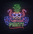neon sign tropical party with tropic leaves vector image