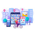 online shopping concept fast delivery and vector image