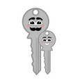 pair happy keys with a smile vector image vector image