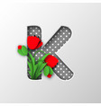 paper cut letter k with poppy flowers vector image
