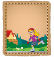 parchment with roller skating girl vector image