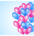 pink and blue heart balloons vector image vector image