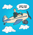 pop art business man riding airplane vector image vector image