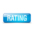 rating blue square 3d realistic isolated web vector image vector image