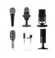 realistic radio and music microphone set vector image