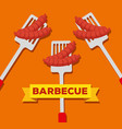 sausages grill preparation in the slices with bbq vector image vector image