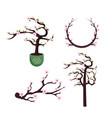 set cherry blossom flowers with branches and stalk vector image