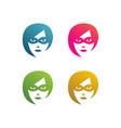 set face superhero women with mask vector image