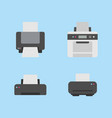 set printer flat icon variations on blue back vector image vector image