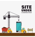 site under construction mobile and truck machinery vector image vector image