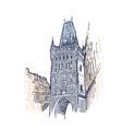 sketch european view prague tower vector image