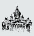 sketch silhouette isaac cathedral in vector image