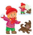 small girl playing snowballs vector image vector image