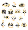 street fast food meals sketch icons with lettering vector image vector image