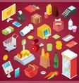 supermarket shopping isometric 3d set vector image