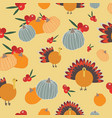 thanksgiving pumpkins cranberries turkey seameless vector image vector image