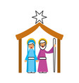 traditional family christmas manger virgin mary vector image