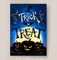 trick or treat halloween postcard design vector image