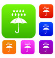 umbrella and rain set collection vector image vector image