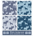 Winter geometric seamless patterns vector image vector image