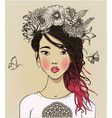 young beautiful asian woman with flowers vector image
