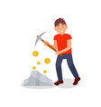 young man digging coins from rock with pickaxe vector image vector image
