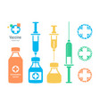 vaccine vial and syringe infographic elements vector image