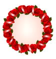 Holiday background with colorful flowers and red vector image