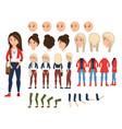 girl character creation set vector image