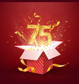 75 th years number anniversary and open gift box vector image vector image
