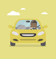 african businessman driving yellow car on the road vector image