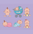 bashower card with little babies vector image