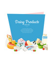 cartoon dairy and cheese products with vector image vector image