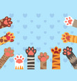cat paws cute kitten paw cats claws and funny vector image