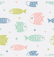 childish seamless pattern with fish creative vector image vector image