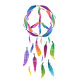 colorful dream catcher with pacific sign and sign vector image vector image
