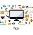 computer digital marketing business commerce vector image