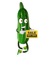 cucumber on sale on white background vector image vector image