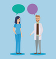 doctors couple talking characters vector image