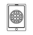 electronic device with world map on the screen vector image vector image
