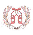 elegant of ballet pink shoes with ribbon vector image