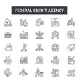federal credit agency line icons for web and vector image vector image
