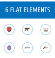 flat icons gem revolver viking helmet and other vector image vector image