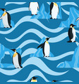 flat penguins on blue with waves seamless pattern vector image vector image