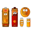 Fresh orange juice cartoon characters vector image