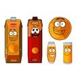 Fresh orange juice cartoon characters vector image vector image