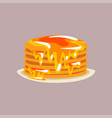 fresh tasty pancakes with honey on a plate vector image vector image